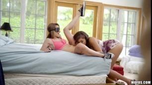 Sharemybf Cassidy Banks Kimmy Granger Blindfolded Jogger Threesome Tit Massage