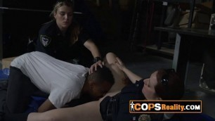 A huge black shlong is about to be sucked by two sexy and busty MILFs