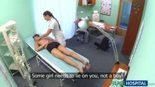Hot Sexy nurse massages patient before sucking and fucking him