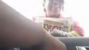 Dick Flash paper girl Masturbates his dick while he is in the car