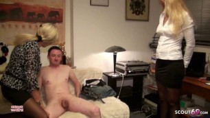 Young Guy Failure Fuck Two German MILFs - Dad Join and Help