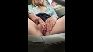 a beautiful mature masturbates in her car