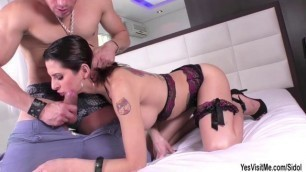 Big tits TS Danny Bendochy teases and gets anal pounded by a horny guy