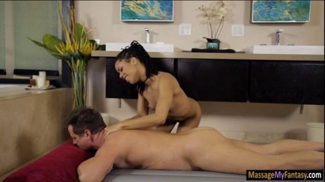 Skinny ebony, nasty massage combined with deep pussy sex