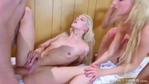 Three girls Piper Perri Elsa Jean and Alaina Dawson have sex with horny guy Danny D in the sauna full HD