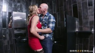 Insatiable Tanya Tate fucks in the toilet The Dinner Date