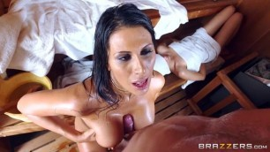Sneaky Sauna Mama All Sex Oral Big Tits Makayla Cox with a brunette in the sauna