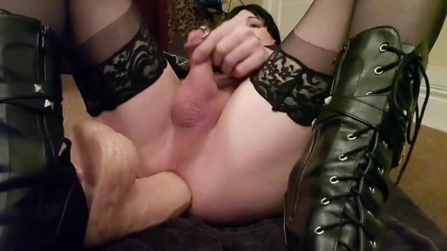 Huge Dildo and a Limp Dick Orgasm