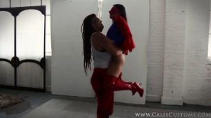 Villain Saharra beats Cali Logan Sexy Superheroine Peril superheroine
