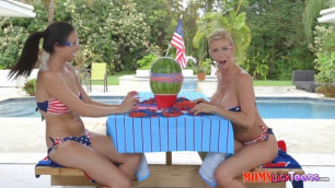 Busty mother Alexis Fawx teaches her teen daughter skinny lesbians
