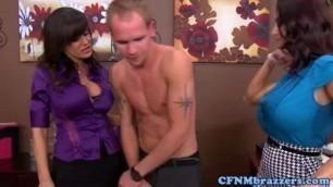 Femdom Milf Ava Addams punishes cock with her pornstar BFF Lisa Annha
