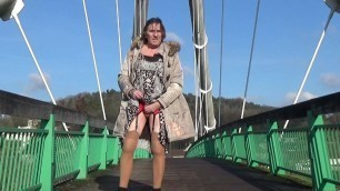 transgender travesti sounding dildo  outdoor road 4a