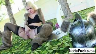 Viking Nadia White plays wtih her pussy