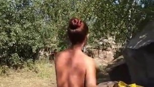 Wife dancing on a nudist beach in Moscow