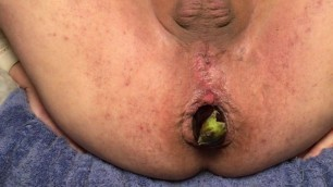 Close-up anal gape with an aubergine #2