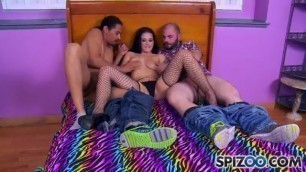 Group sex with a beautiful brunette Katrina Jade Katrina Jade black and white