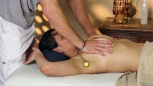 pornstar Charley Chase is getting fucked on a massage table