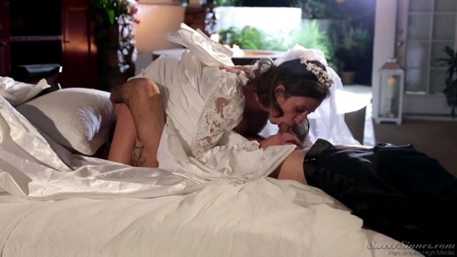 Horny bride Ariella Ferrera is getting her pussy lickedright before wedding